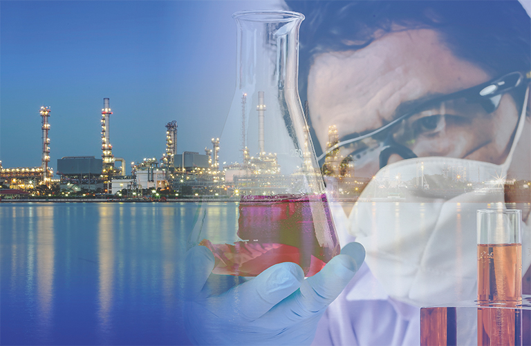 IMO regulations low sulfur content 0.1 % and 0.5 % sulfur content chemist and background a city view